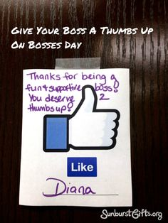 This method of celebrating Bosses Day gives everyone an opportunity to show their appreciation to their boss and to any other supervisor in their office.