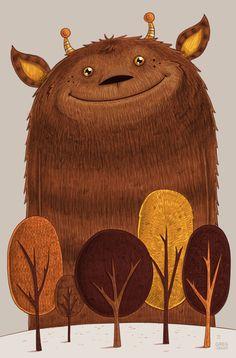 Geoffrey Art Print by Greg Abbott Art And Illustration, Monster Illustration, Book Illustrations, Cute Monsters, Little Monsters, Dragons, Greg Abbott, Kids Artwork, Nursery Artwork