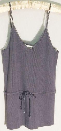 New JONES NEW YORK 100% Silk Gray Knit Top - Beaded Trim - Drawstring - Large -L #JonesNewYork #KnitTop #jones #new #york #gray #knit #top #sweater #silk #large #L