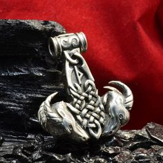 "Sterling Silver Handmade THOR'S HAMMER MJOLNIR Pendant <b>""TANGNIOSTR""</b>"