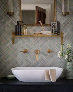 Vessel sink and gold grout Bathroom, ideas, bath, house, home, indoor, design, decoration, decor, water, shower, storage, rest, diy, room, creative, mirror, towel, shelf, furniture, closet, bathtub, apartments, toilet, loundry, window. #furnituredesign