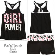 a31b6ecd5a2e NWT Justice Girls Size 12 or 14 Positive Message Tank Top   Yoga Shorts  2-PC SET
