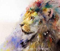 Lion 60x50 Gerard Hendriks Watercolor