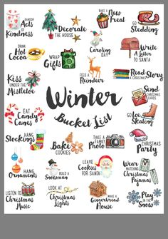 a FREE High Resolution Winter Bucket List Here Katie Hall Creative — 2018 Christmas Bucket List I ♥ U Winter by Artnis on 40 Activities to Cross Off Your Winter Bucket List Christmas Mood, Holiday Fun, Christmas To Do List, Christmas Bucket Lists, Thanksgiving Bucket List, Santa Christmas, Christmas Countdown, Holiday List, Halloween Bucket List