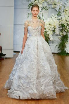 monique lhuillier spring 2018 bridal strapless sweetheart neckline wrap over ruched bodice ruffled skirt princess ball wedding dress long train (isabella) mv -- Monique Lhuillier Spring 2018 Wedding Dresses 2018 Wedding Dresses Trends, Big Wedding Dresses, Perfect Wedding Dress, Bridal Dresses, Gown Wedding, Wedding Blog, Most Expensive Wedding Dress, Monique Lhuillier Bridal, Bridal Fashion Week