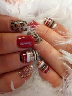 red, animal print, striped and glitter nails