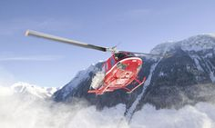 Heli skiing involves competitors being helicoptered to virgin snow caps and leaping from the copter to ski slopes.