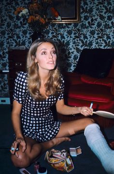 "simply-sharon-tate: ""Sharon Tate, photographed in her Paris hotel suite by Jean-Claude Deutsch in October of 1968. The cast on her leg is the result of an accidental injury she sustained when she fell..."