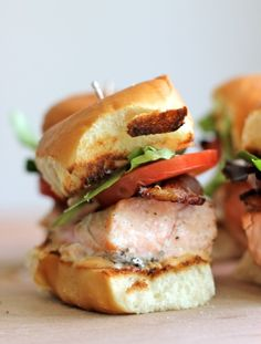 Salmon BLT sliders with chipotle mayo- would be great with fruit salsa on it