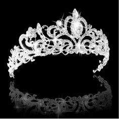 Bridal Austrian Crystal Tiara Veil Headband Silver