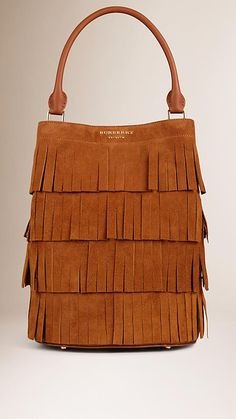 06b34cc89b6f The Bucket Bag in Tiered Suede Fringing Womens Purses