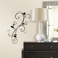 Scroll Sconce Wall Decals with Bendable Butterfly Mirrors | RoomMates Peel and Stick Décor. Room mates decal.com