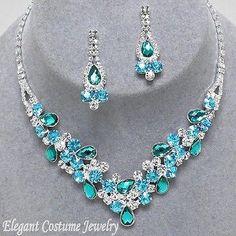 Malibu Blue Turquoise Crystal Formal Prom Necklace Set Elegant Wedding Jewelry