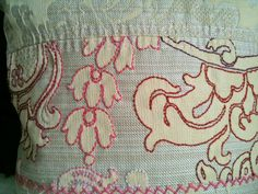 "Embroidered Love Hand Embroidered 18"" Square Pillow Cover and insert made from recycled textiles. $75.00, via Etsy."