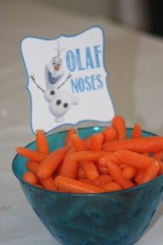 Olaf noses!! Carrots with label Living A Dream: Keira's Frozen Party - 5th Birthday