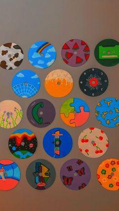 Cd Wall Art, Cd Art, Indie Room Decor, Cute Bedroom Decor, Vinyl Record Art, Vinyl Art, Mini Canvas Art, Diy Canvas, Indie Drawings