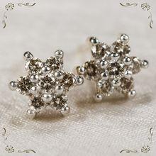 Lovely Champagne Diamond Flower 14k Gold Pierced Stud Earrings