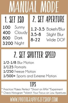 Need help shooting on manual mode? From setting your ISO, Aperture, Shutter Spee. Need help shooting on manual mode? From setting your ISO, Aperture, Shutter Speed get our tips and tricks and better Photography Settings, Dslr Photography Tips, Photography Cheat Sheets, Photography Challenge, Photography Lessons, Photography For Beginners, Photography Tutorials, Creative Photography, Digital Photography