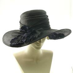 Black Straw Wide Brim Hat For Women  Kentucky by TheMillineryShop, $290.00