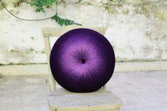 Purple silk velvet round pillow