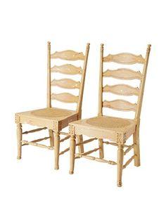 GuildMaster Set of 2 Livorno Ladder-Back Chairs, Acorn/Red