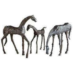 Sculpture Statue CYAN DESIGN Grazing Horse Bronze Cast Brass New CY-1740