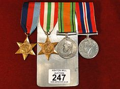 247) A good set of mounted WWII British medals including two campaign stars Est. £30-£50