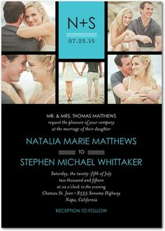 Sleek Sophisticate - Signature White Wedding Invitations - Jill Smith - Paradise - Blue : Front