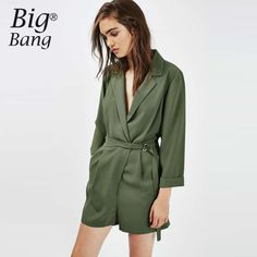 Find More Rompers Information about Vogue Blazer Jumpsuits Belted Waist Crossed V neck Women Shorts OL Solid Color Short Rompers Playsuit Jumpsuits M16102807,High Quality shorts and heels fashion,China shorts leopard Suppliers, Cheap shorts belt from Boutique, Big  Bang  on Aliexpress.com