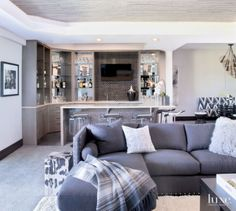 Contemporary White Rec Room with Bar Area
