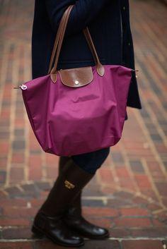 Longchamp Le Pliage Tote. Shop outfit details on A Pop of Pink.