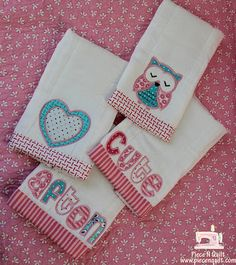 Burp Cloths ~ A Free Tutorial: *** Could do this w/ hand towel & make x-mas themed appliques instead! Decorate Plain Burp Clothes With Leftover Pieces of Fabric!