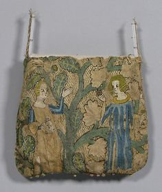 Purse Date: early 14th century Culture: French Medium: Silk, linen, gold leaf Dimensions: Overall: 5 1/2 x 6in. (14 x 15.2cm)