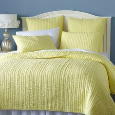 Avery Pick-Stitch Bedding & Quilt - Yellow | Pier 1 Imports