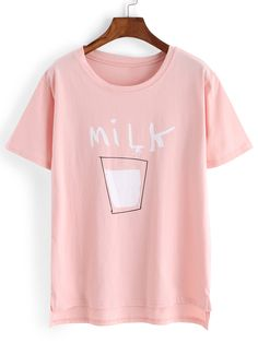 Pink+Crew+Neck+Milk+Print+T-Shirt+13.99
