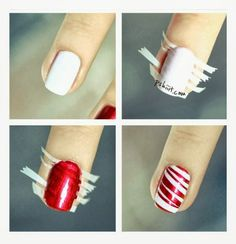 Cute nails for Christmas. One green accent nail would be super cute. Even with gold or silver glitter underneath instead of white. Love!