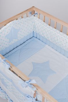 Crib bumper Stars  Baby cot bumper Blue boy bedding by CotandCot