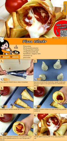 Pizza croissant recipe with video - make pizza yourself / quick recipes - PIZZA Rezepte mit Videos, mit Rezeptkarten - HotDog Pizza Croissant, Croissants Recipe Video, Pizza Cones, Creative Pizza, Pizza You, All You Need Is, Hungarian Recipes, Thanksgiving Appetizers, Slow Food