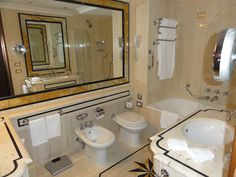 Rome Cavalieri, Waldorf Astoria Hotels & Resorts. Beautiful #Marble #Bathroom! What a great piece of inspiration for your own marble bathroom! Visit us at #FordhamMarble today or go to our website at www.fordhammarble.com!