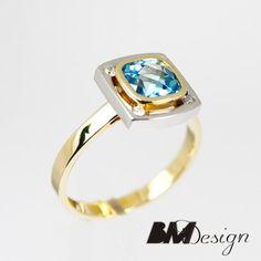 Pierścionek zaręczynowy z diamentami i topazem  Rzeszów  Pierścionek zaręczynowy Rzeszów BM Design BM RzeszówBM Rzeszów