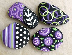 MAGNETS Hand Painted Abstract Purple Black and White Art River Rock Stone Pebble SET of 4