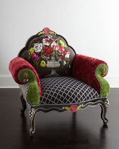 Shop Botanica Chair from MacKenzie-Childs at Horchow, where you'll find new lower shipping on hundreds of home furnishings and gifts. Funky Furniture, Colorful Furniture, Unique Furniture, Painted Furniture, Living Room Furniture, Furniture Chairs, Cheap Furniture, Furniture Stores, Colorful Accent Chairs
