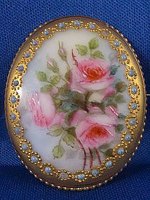 Victorian ~Handpainted Porcelain Brooch~ with Gold