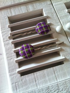 Purple and Green Plaid Fabric Covered Button Bobby Pins
