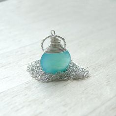 Blue Chalcedony Necklace Sterling Silver Wire Wrap by ArtistiKat