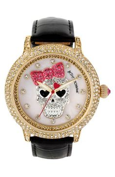 46mm Betsey Johnson, Crystal Skull Watch with girly pink bow.