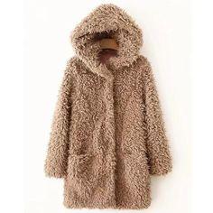 UK Womens Teddy Bear Hoodie Coat Ladies Faux Fur 2 Textured Jacket Size 6-16