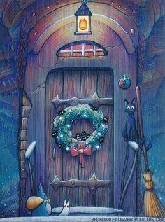 Ghibli Christmas in Howl's Moving Castle by illustore Winter Wallpaper, Christmas Wallpaper, Bts Wallpaper, Howl's Moving Castle, Howl And Sophie, Ghibli Movies, Illustration, My Neighbor Totoro, Hayao Miyazaki