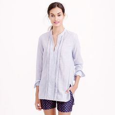 J.Crew Tall corded popover tunic in blue stripe