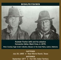 """RUDOLPH FISCHER (1852 - 1941) was a White captive of the Comanche tribe for decades. Abducted at age 13 by a Comanche war party near Fredericksburg, he was adopted into the Comanche tribe. Like some others caught in this situation, Rudolph accepted the Indian lifestyle so completely that he refused to leave it when given the chance. He took two Comanche wives and went with the tribe to its new reservation in Oklahoma, where """"he was fruitful and multiplied."""""""